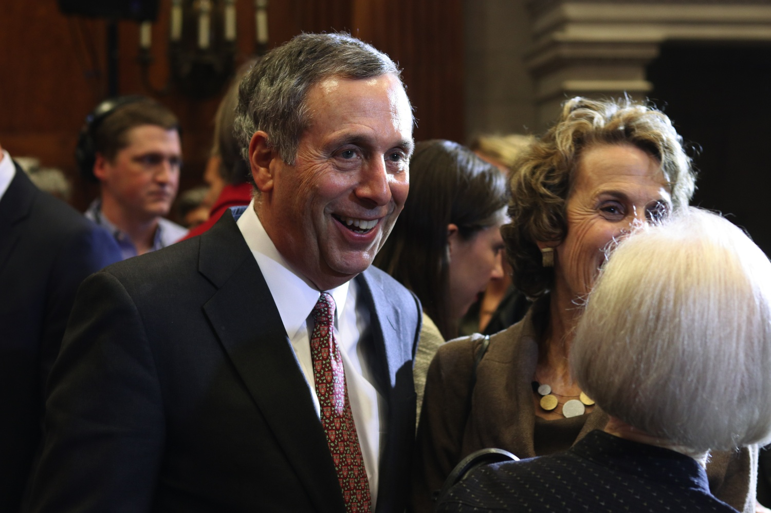 University President-elect Lawrence S. Bacow smiles at the press conference announcing his selection in Feb. 2018.