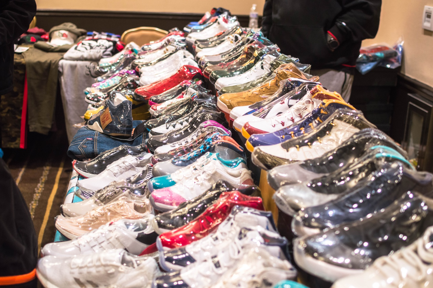 An array of colorful sneakers is displayed at Sneakergreet on Saturday afternoon.