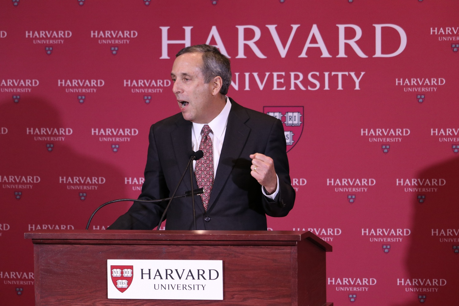 University President Lawrence S. Bacow speaks at the press conference announcing his selection.