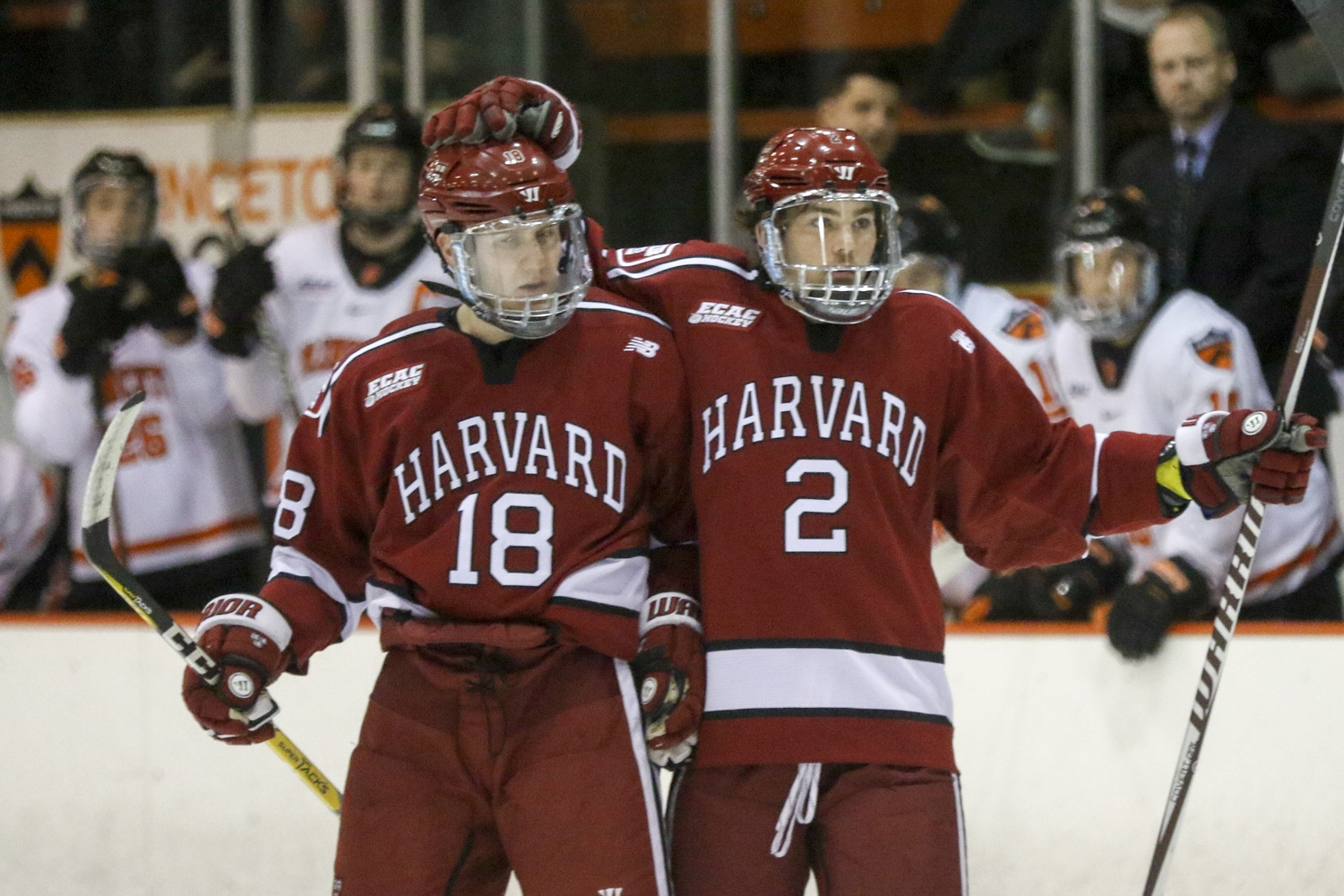 Both sophomore Adam Fox and freshman Reilly Walsh, pictured here against Princeton, potted goals in a 5-0 victory over St. Lawrence.