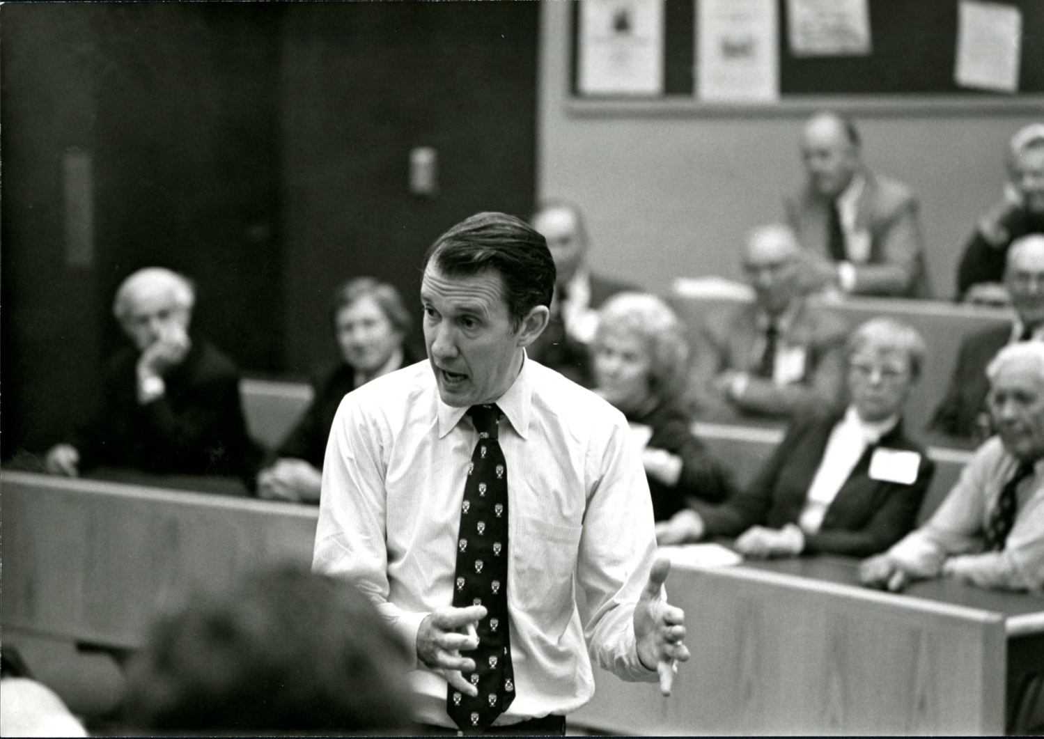 Hugo E. R. Uyterhoeven, a longtime Business School professor and administrator, died at 86. Uyterhoeven is pictured here teaching in the 1970s.