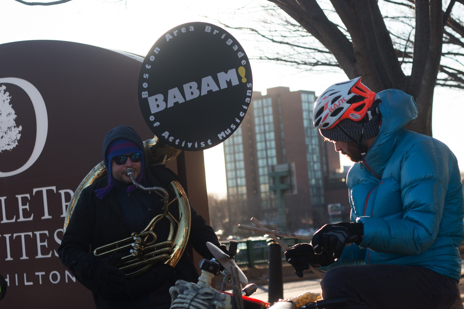 """The Boston Area Brigade of Activists and Musicians plays at the """"Transit Not Traffic"""" rally in Allston."""