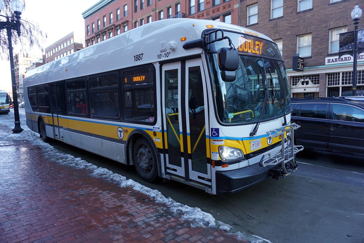 The 1 bus rolling through Massachusetts Avenue.