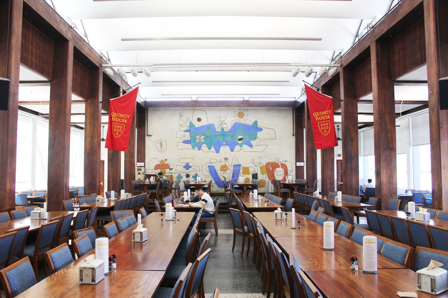An empty Quincy dining hall, where Elrhanifi works.