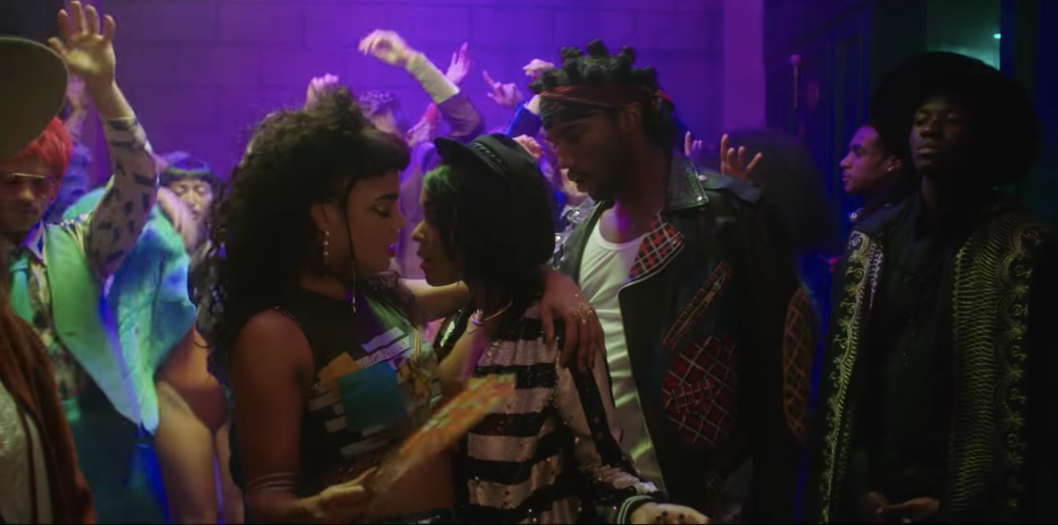 """Tessa Thompson and Janelle Monáe in the music video for """"Make Me Feel."""""""