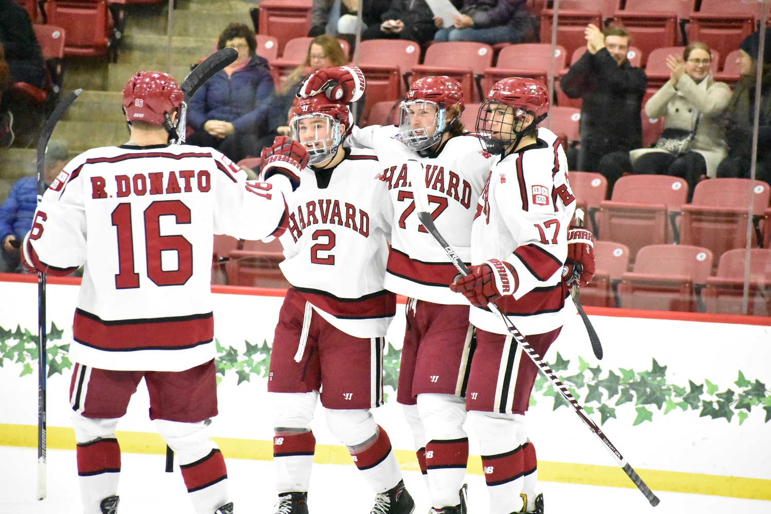 Harvard's offense roared back to life after scoring just one goal against Dartmouth in Game 1—the Crimson put the puck in the Big Green net seven times.