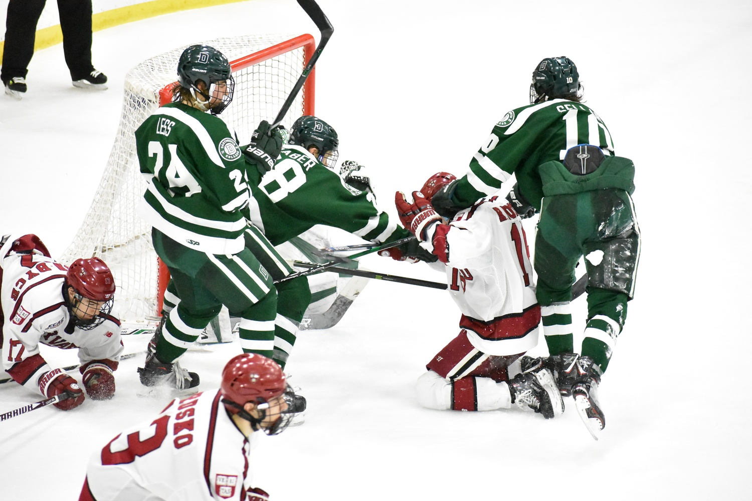 Together, Harvard and Dartmouth took 11 penalties in the game, and the wide margin in the score led to some extracurricular activities.