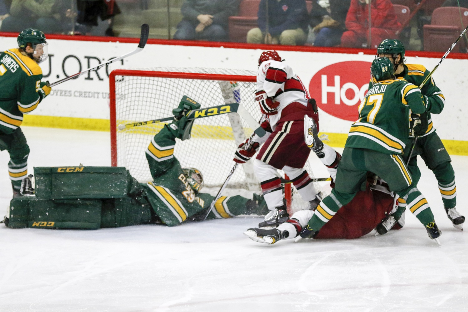 Jake Kielly conceded 12 goals to the Crimson in three matchups this year, but came away with the win that mattered as Clarkson moved on to the ECAC final.