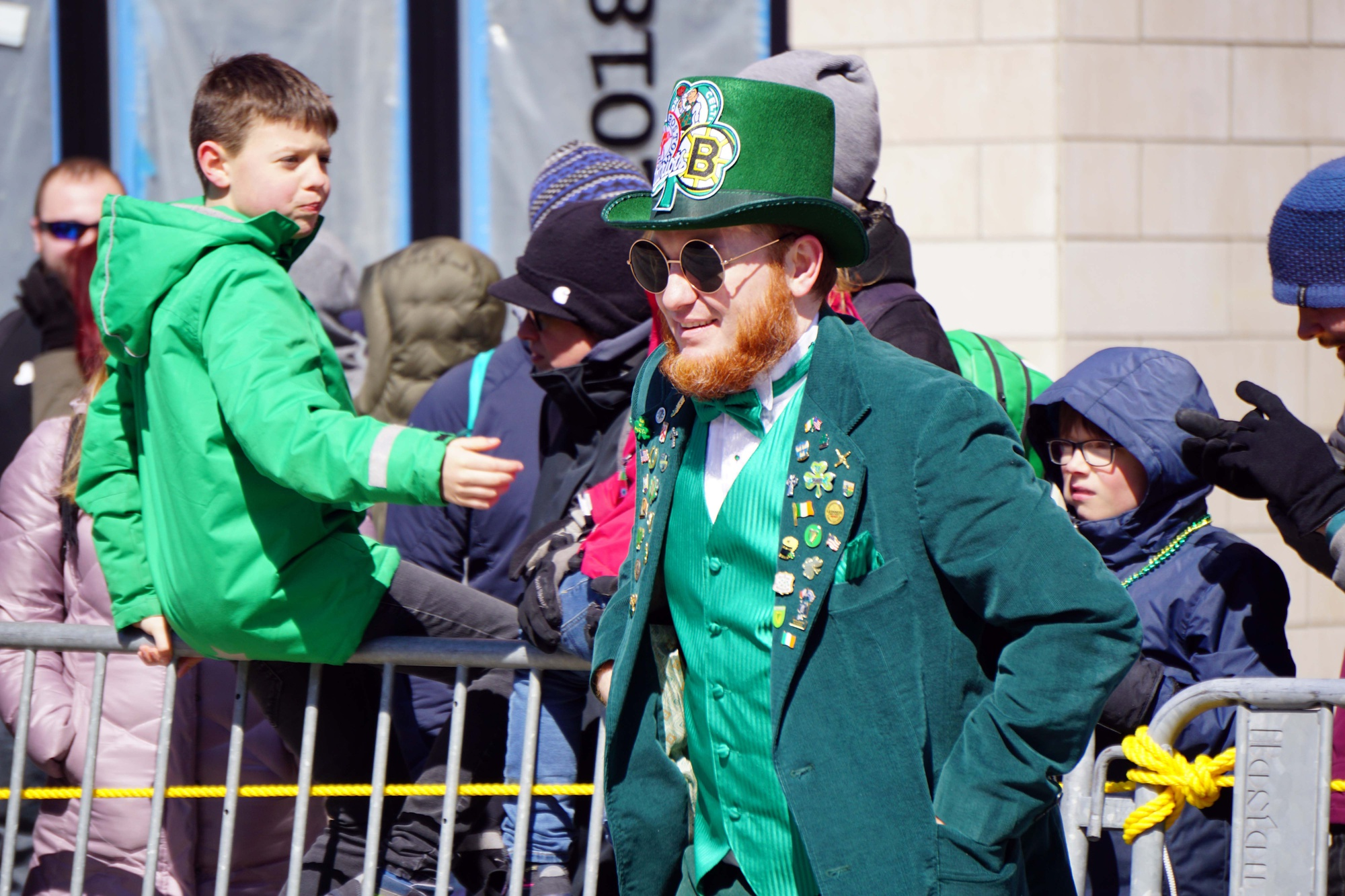 A leprechaun shows off his Boston pride.