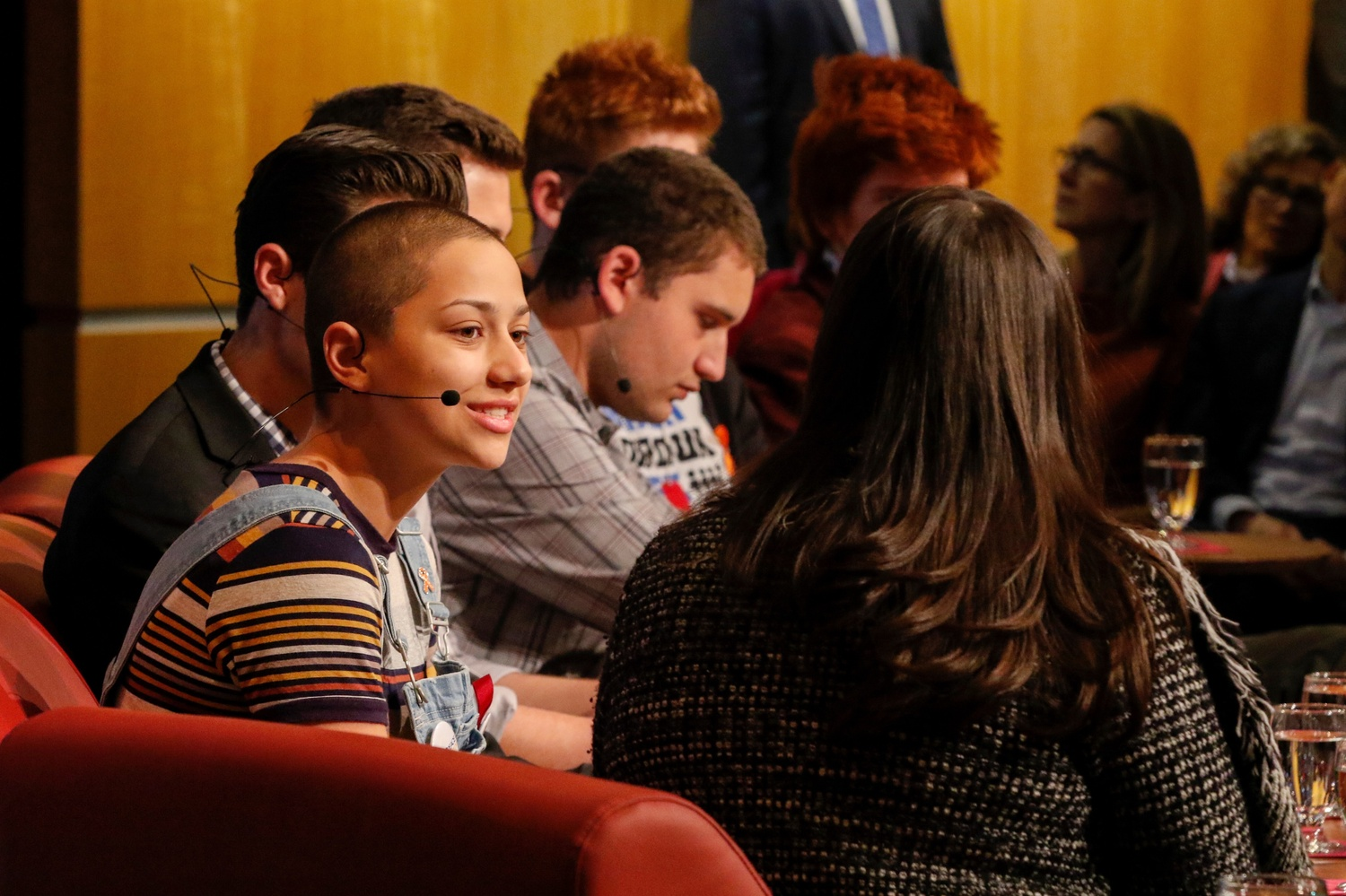 Marjory Stoneman Douglas High School senior Emma González and five of her classmates spoke at the JFK Jr. Forum Tuesday about their organization of the #NeverAgain movement, a push to end gun violence across the United States.