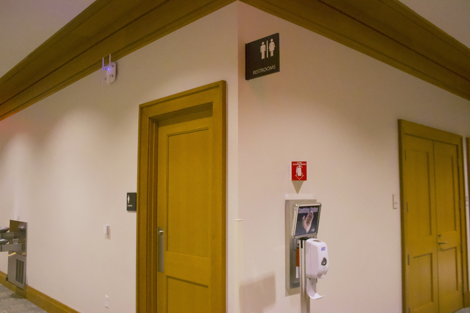 A bathroom in the Harvard Law School Wasserstein building.