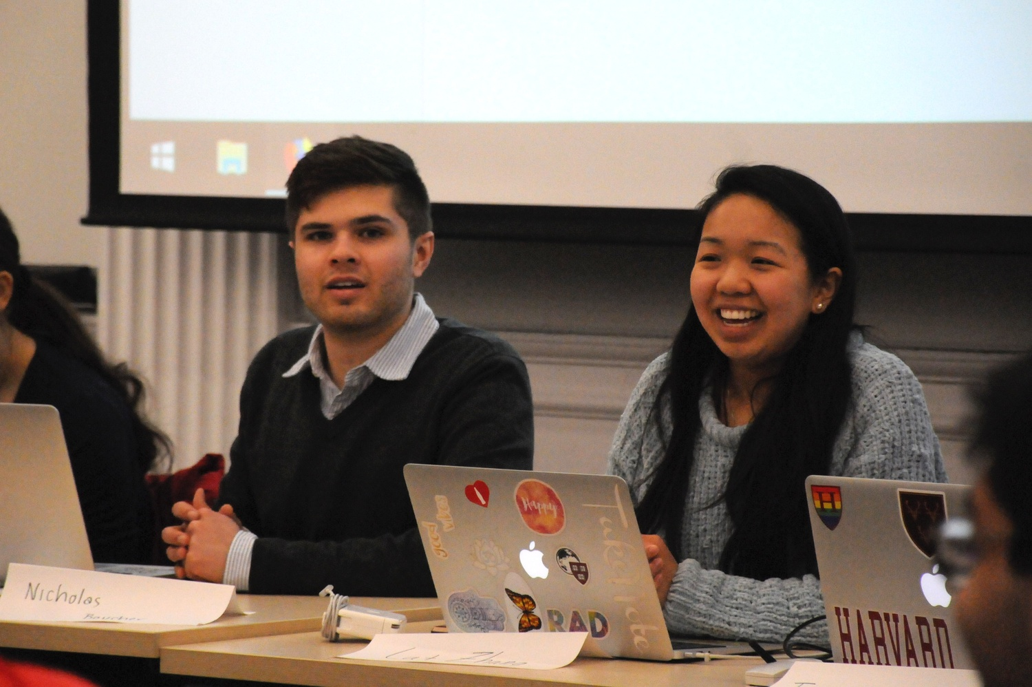 Catherine L. Zhang '19 and Nicholas D. Boucher '19 preside over an Undergraduate Council Meeting.