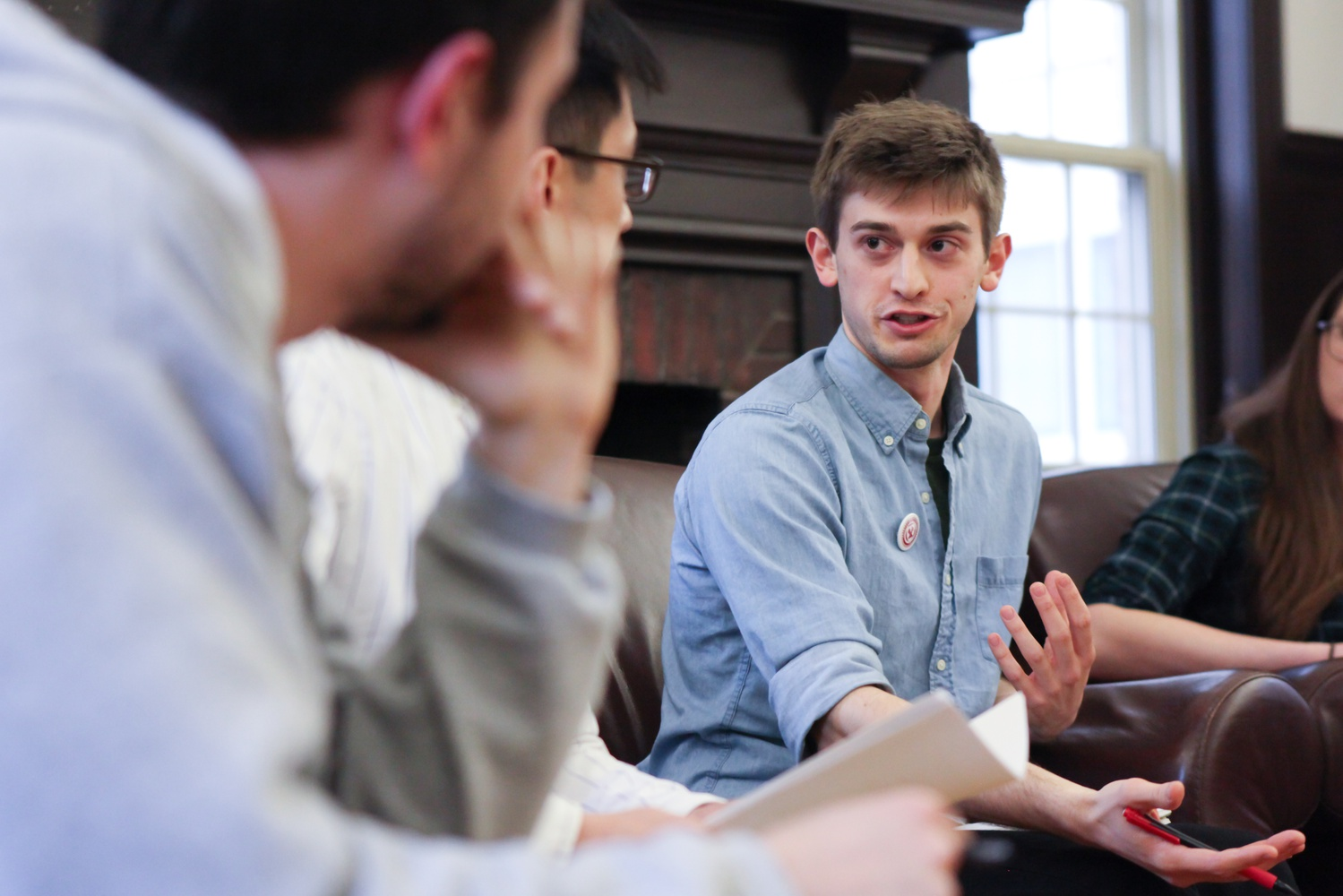 Ph.D. student and Harvard Graduate Students Union- United Automobile Workers organizer Justin Bloesch argues for graduate unionization during a panel hosted by The Crimson.