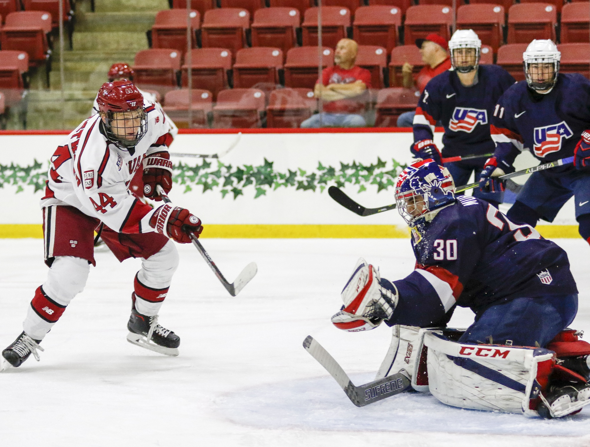 The Crimson hosted the USNTDP U-18 team in an exhibition for the second consecutive year. Lackey, Fox, Solin, and Walsh on the Harvard team all played with the program before college.