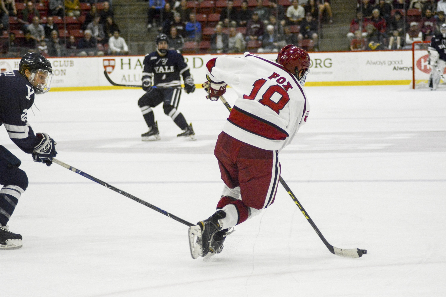 Despite rallying in the second period and scoring twice to tie the game, Harvard could not hold off Yale's pressure.
