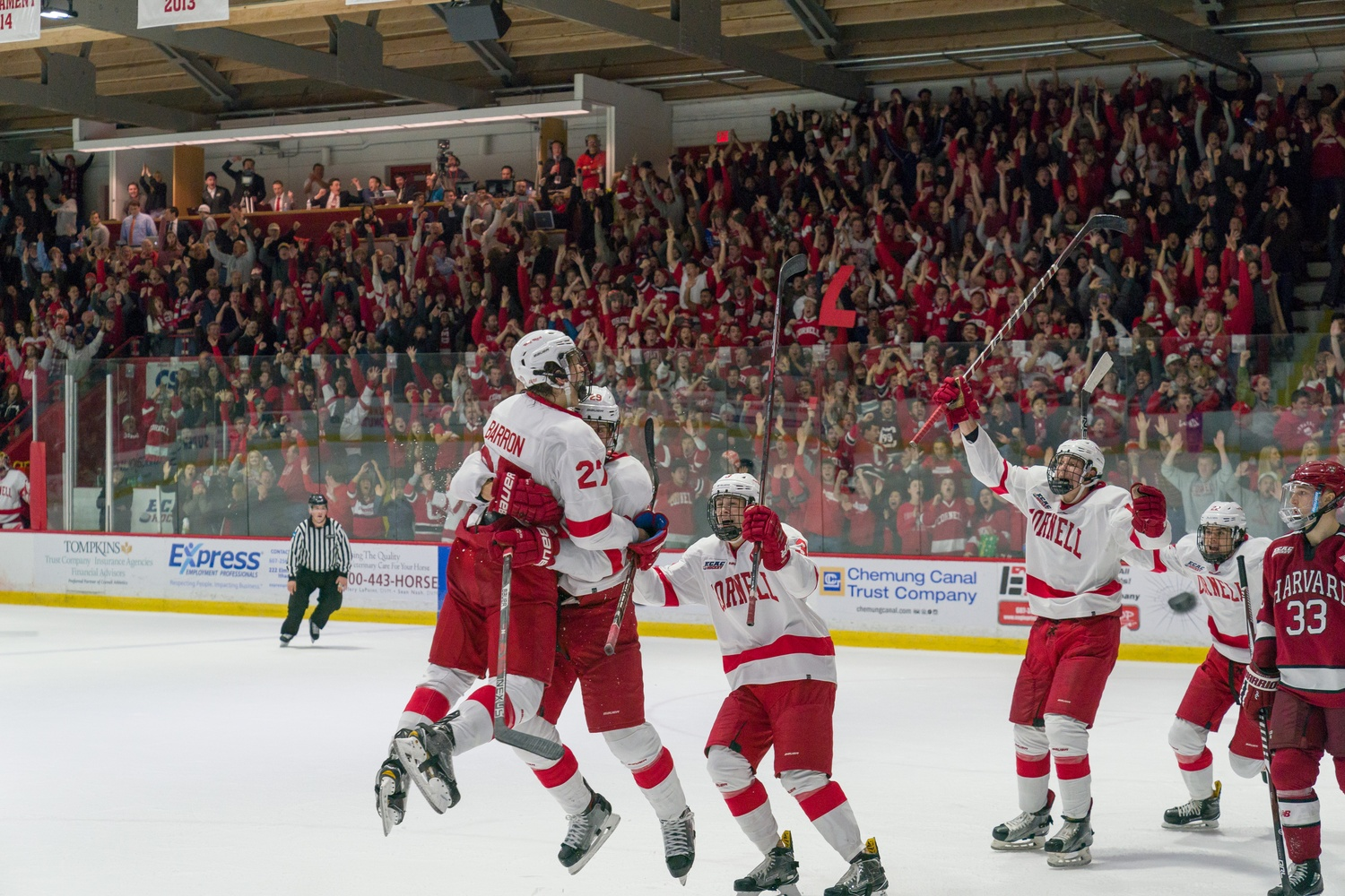 Lynah Rink in Ithaca, N.Y., is never a hospitable venue for the Crimson, who were victims of both a crushing loss and flying fish.