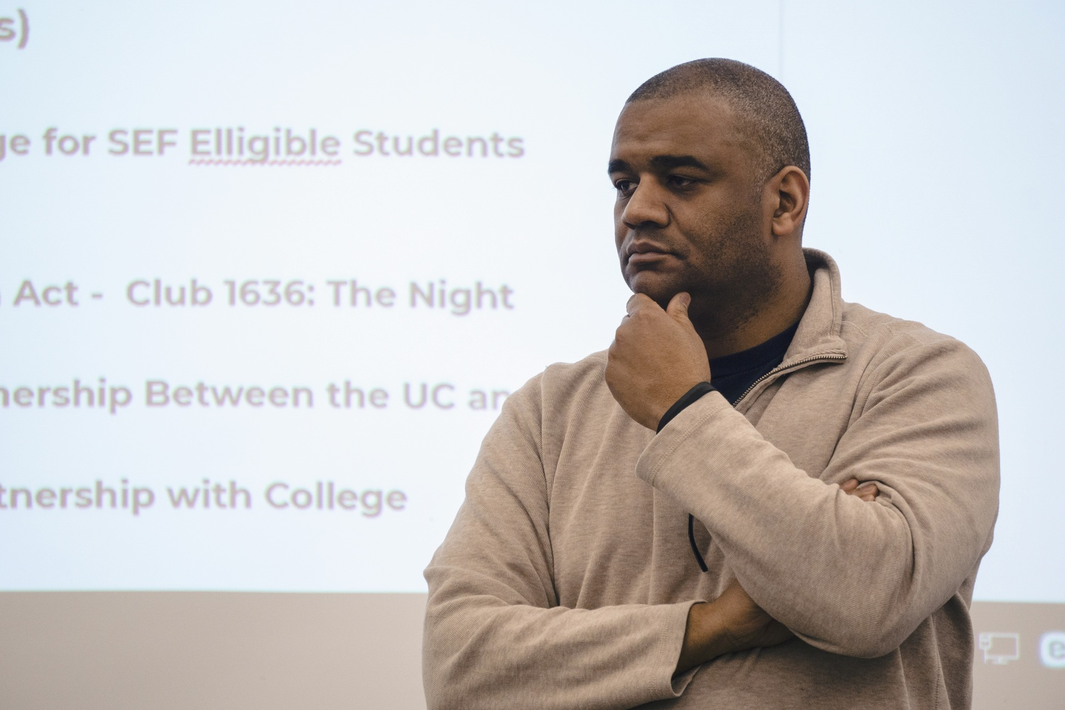 Associate Dean of Students for Diversity and Inclusion Roland S. Davis at the April 15 Undergraduate Council meeting.
