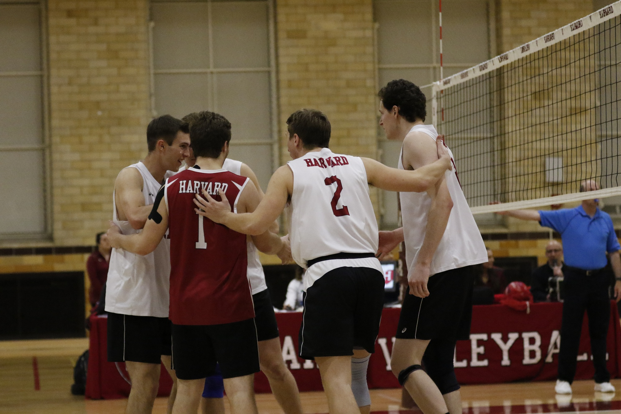 Senior setter Marko Kostich (2) and sophomore outside hitter Erik Johnsson (11) celebrate with their teammates after securing a point. Both players had seven kills on Thursday, with Kostich adding 22 assists.