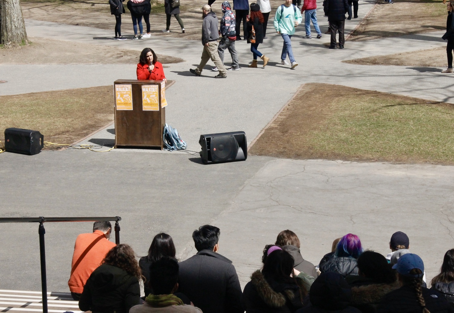 Students gathered on Widener steps Friday morning as part of a national day of school walkouts to mark the 19th anniversary of the Columbine shooting.