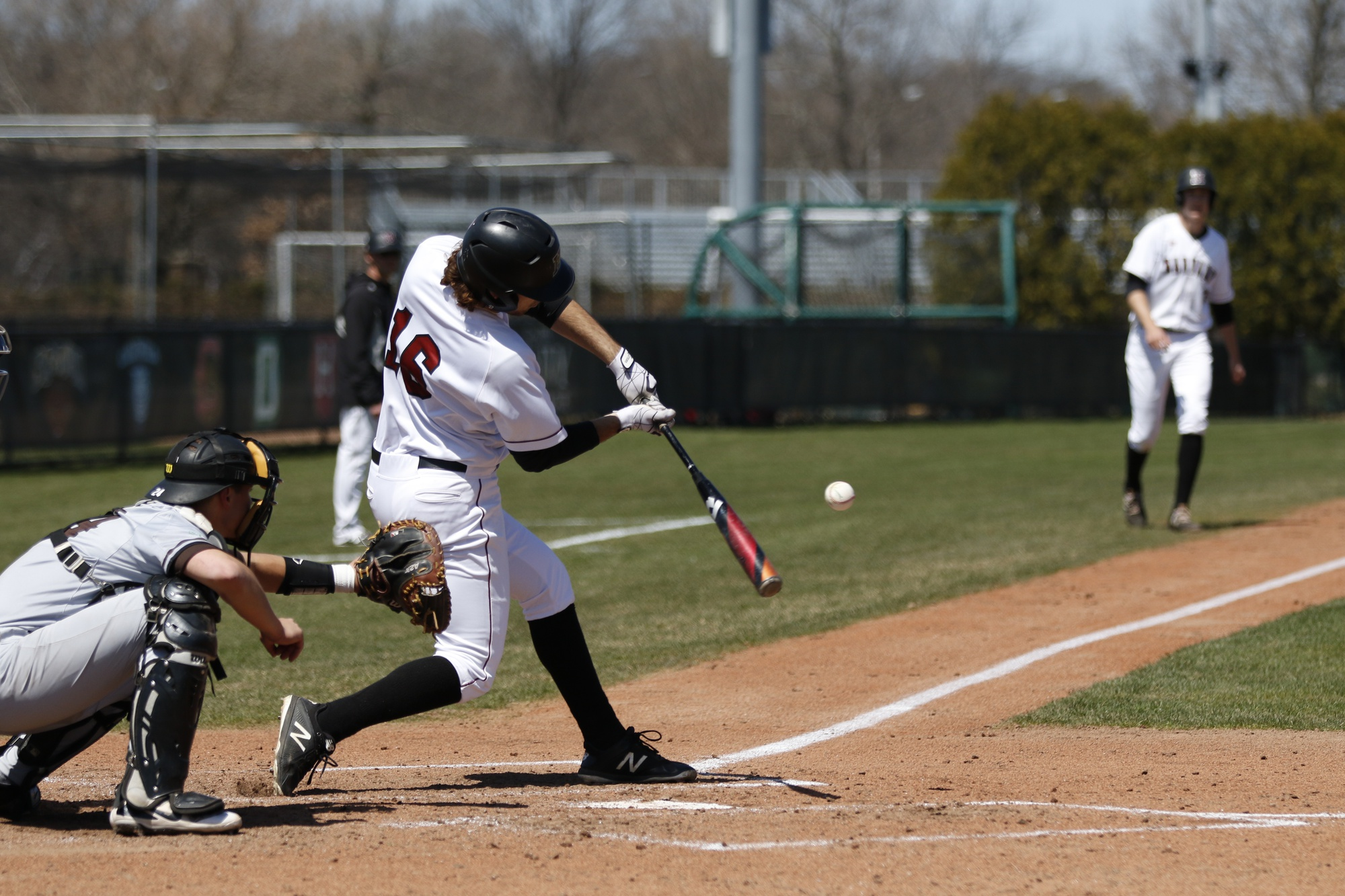 Junior Jake Suddleson hones in on a pitch against Brown.