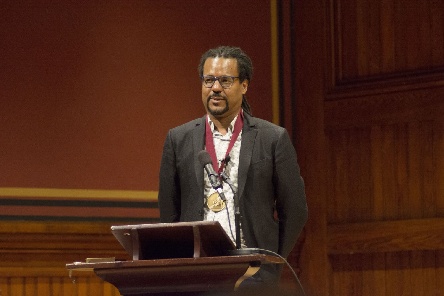 Colson Whitehead receives the Harvard Arts Medal at Sanders Theatre on Thursday afternoon.
