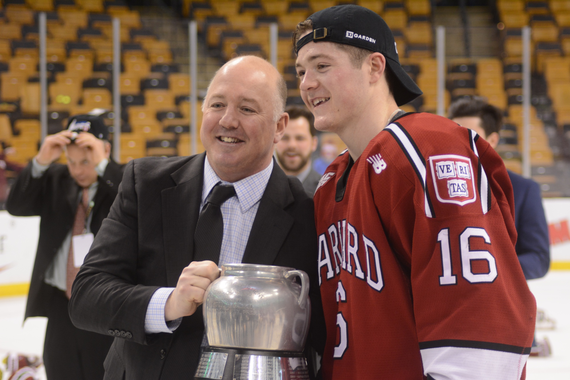 One of Ryan Donato's most compelling storylines throughout his Harvard career, and especially in his final season for the Crimson, was his relationship with his coach and father, Ted. In 2017, the duo was able to celebrate a Beanpot title.