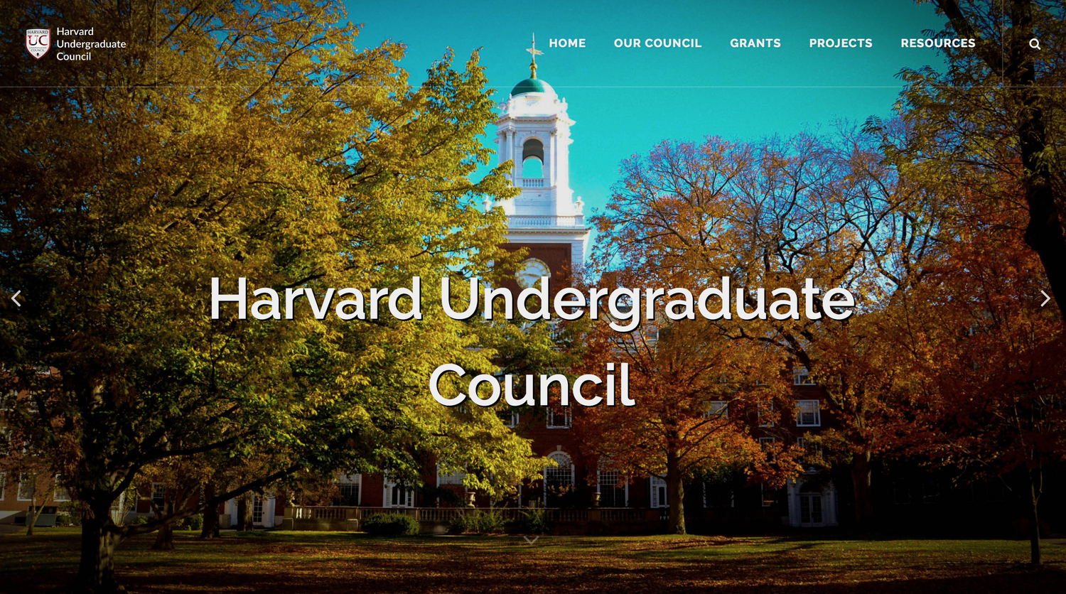 The Undergraduate Council's new website, debuted May 2018.