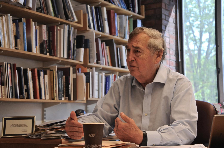 Graham Allison reflects on the Clinton era in his Harvard Kennedy School office.