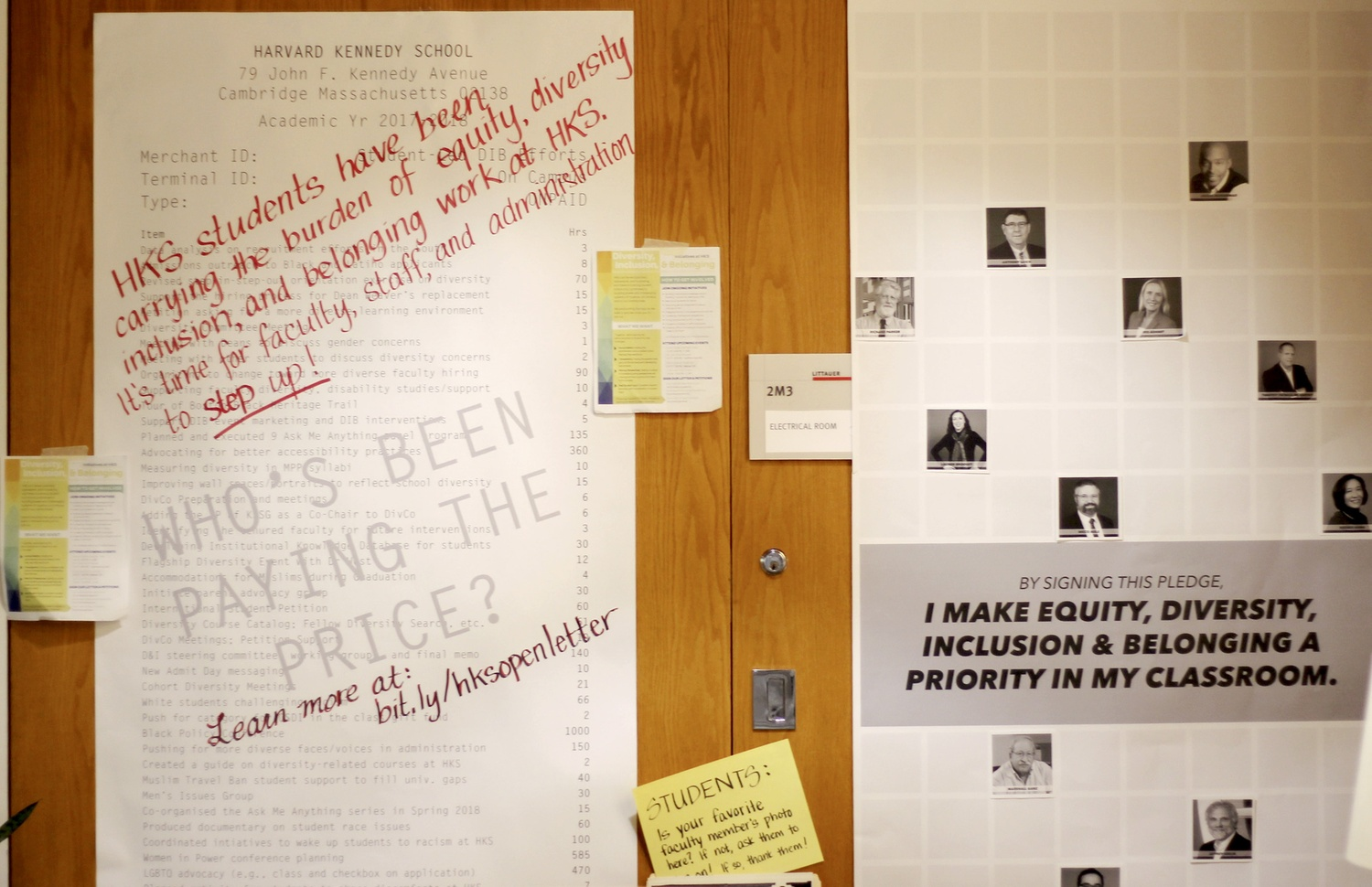 Posters line the wall outside the Dean's office at the Harvard Kennedy School.