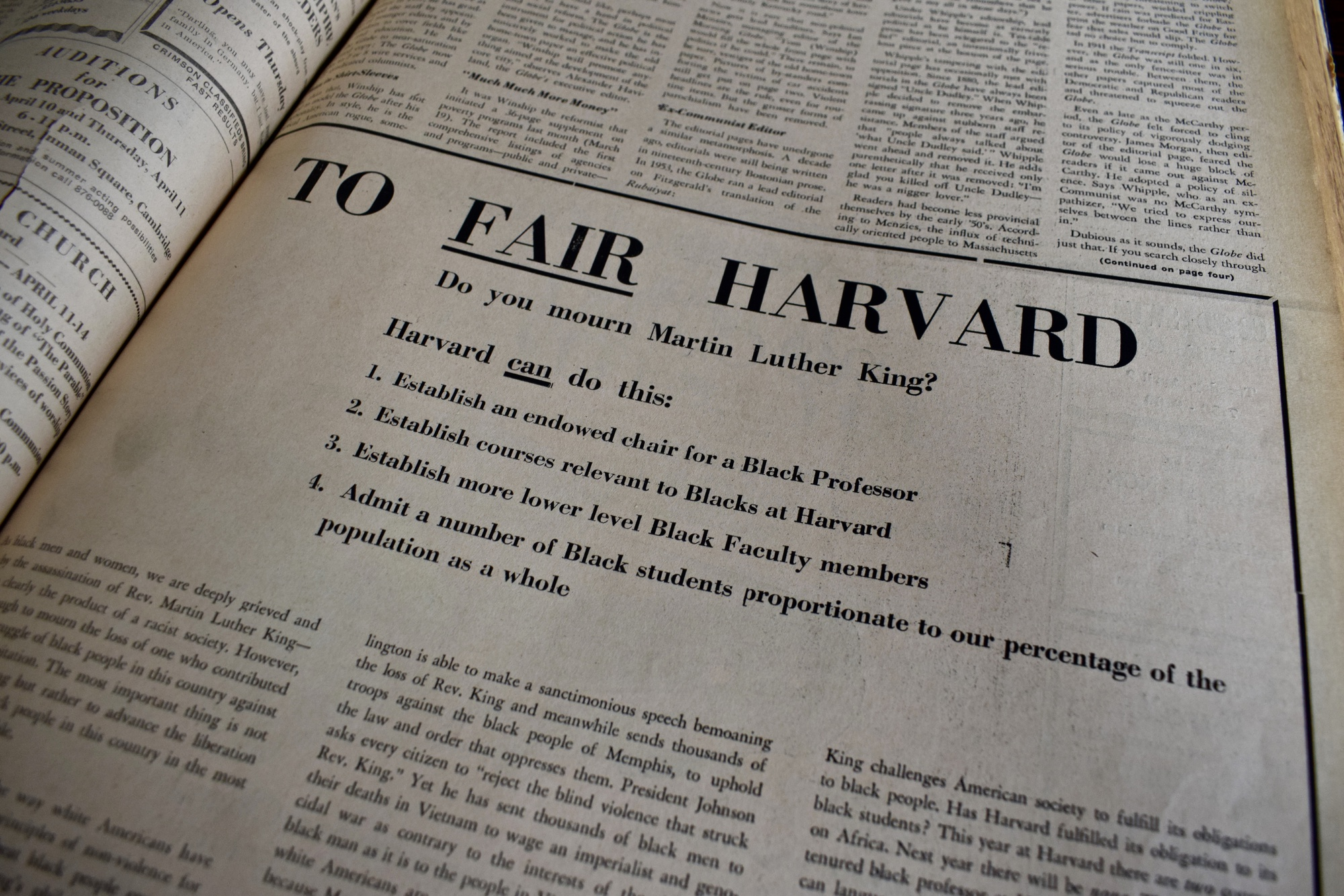 The April 10, 1968 issue of The Crimson featured the Four Demands.