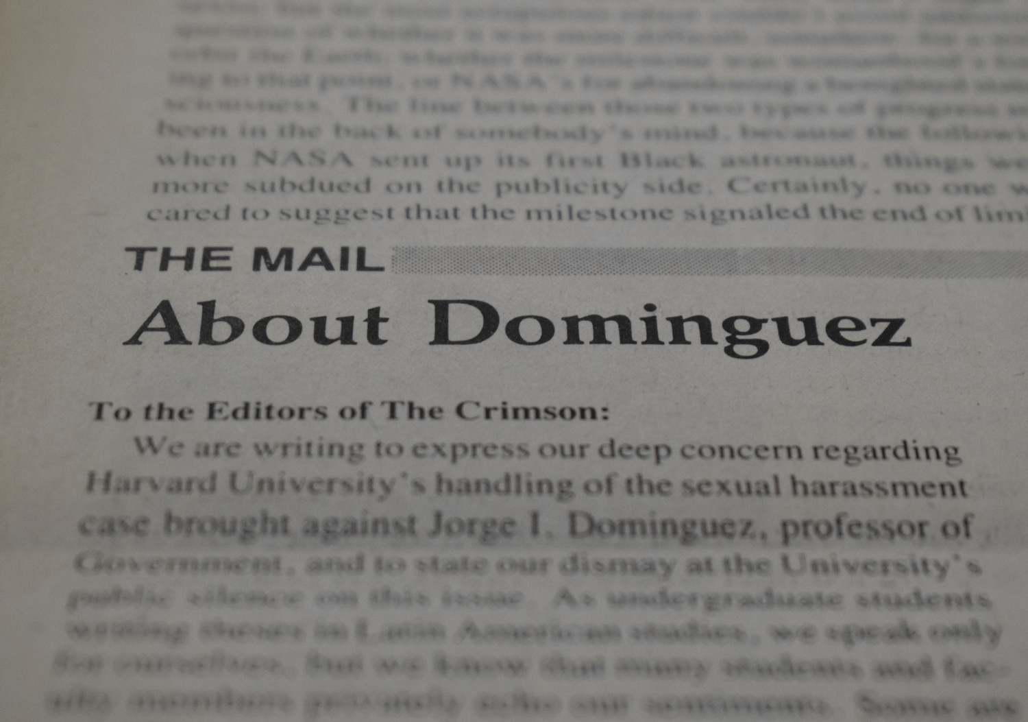 "The October 7, 1983 issue of The Crimson featured an op-ed titled ""About Dominguez."""