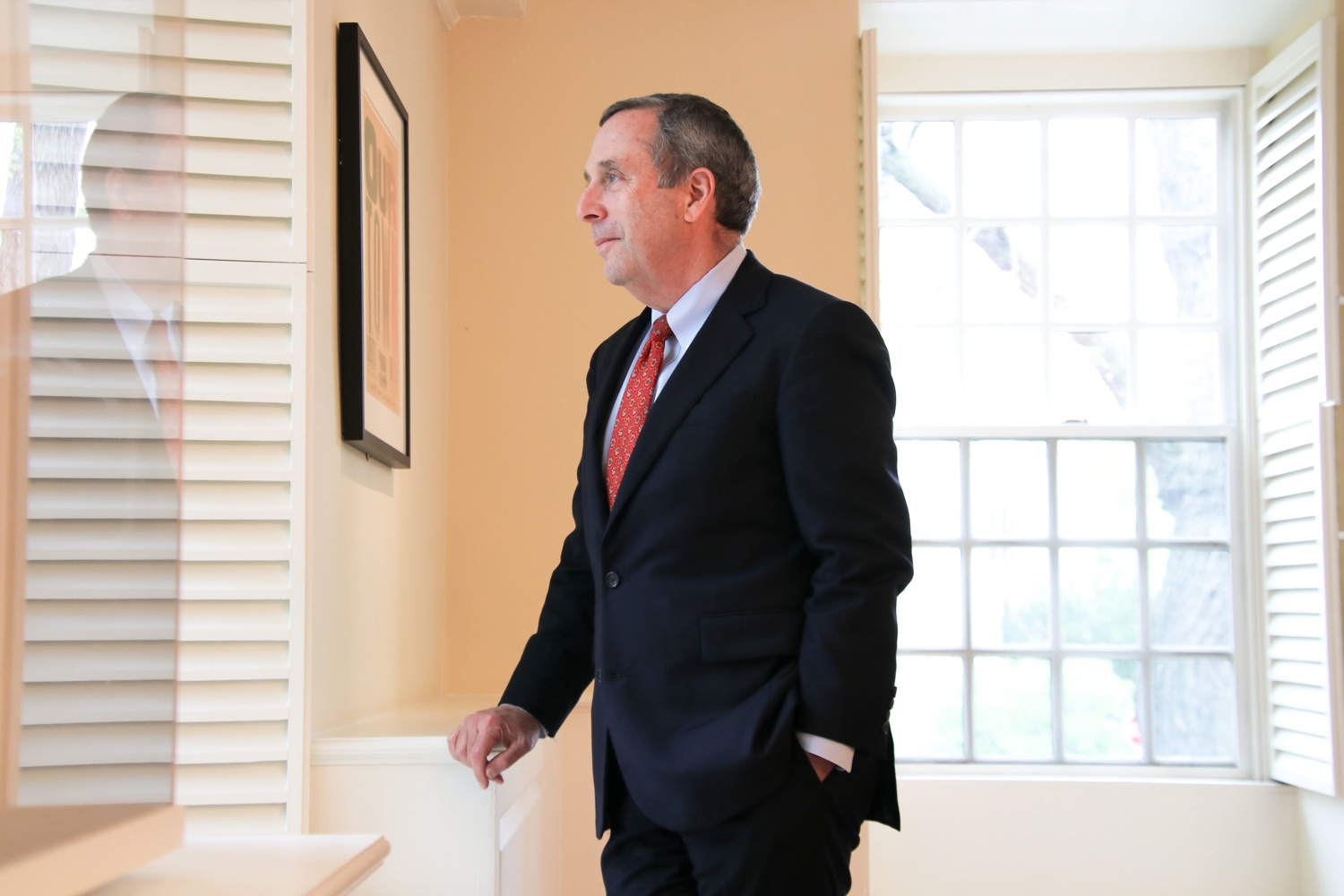 University President Lawrence S. Bacow, pictured in May 2018.
