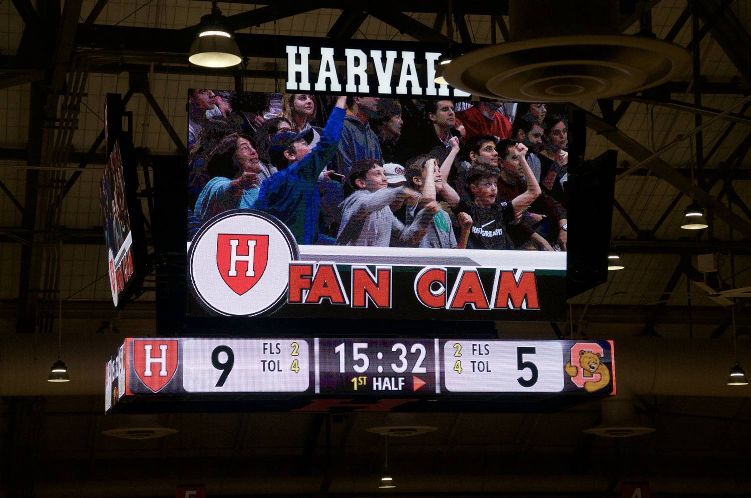 Fans attending games at Lavietes Pavilion can now engage through interactive activities during breaks, such as being featured on the Fan Cam.