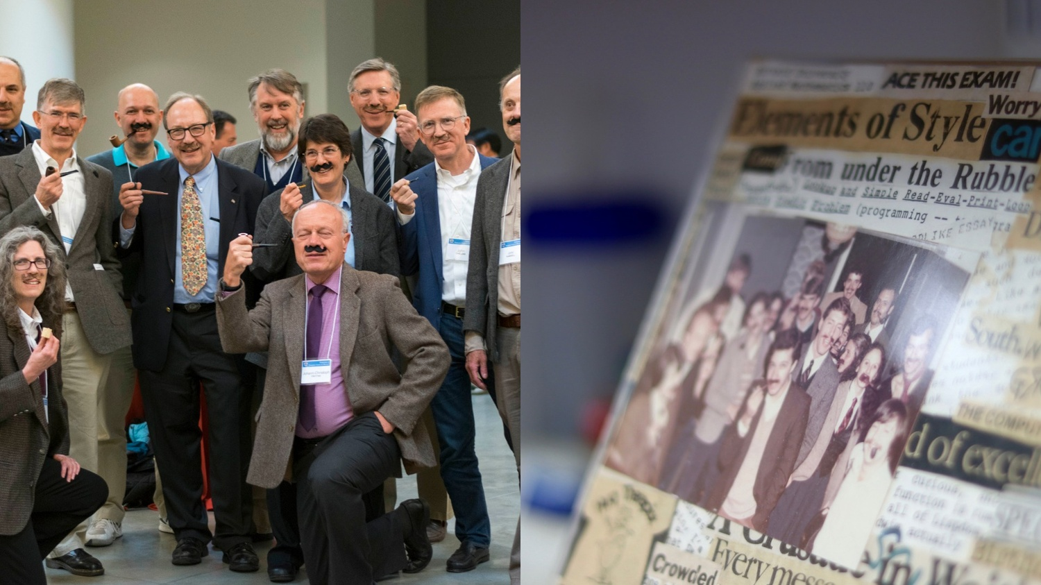 On the left, Margo I. Seltzer '83 and current and former Harvard colleagues recreate a photo they took for Halloween 1982—in which all are dressed to look like Computer Science professor and former Dean of the College Harry R. Lewis '68. On the right, the original photo.