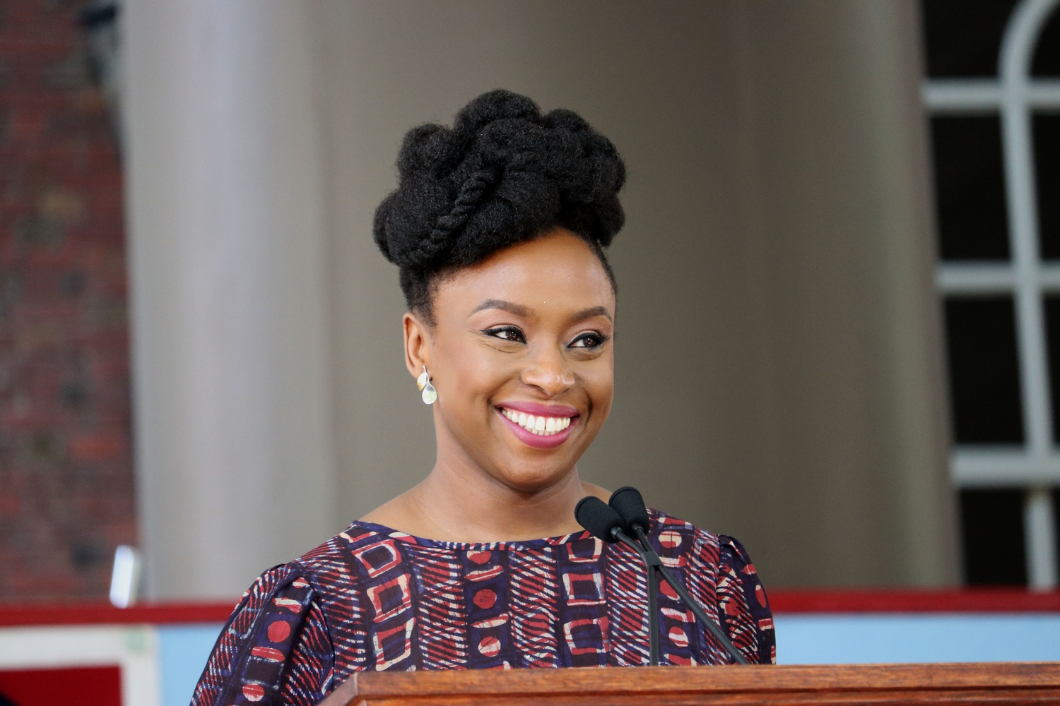 Class Day Speaker Chimamanda Ngozi Adichie addresses the graduating class of 2018 in Tercentenary Theatre Wednesday afternoon.