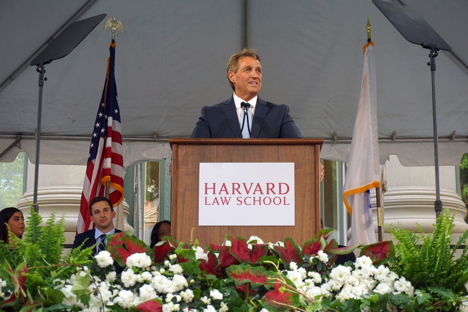 Republican U.S. Senator Jeffry L. Flake speaks at Harvard Law School Class Day in 2018.