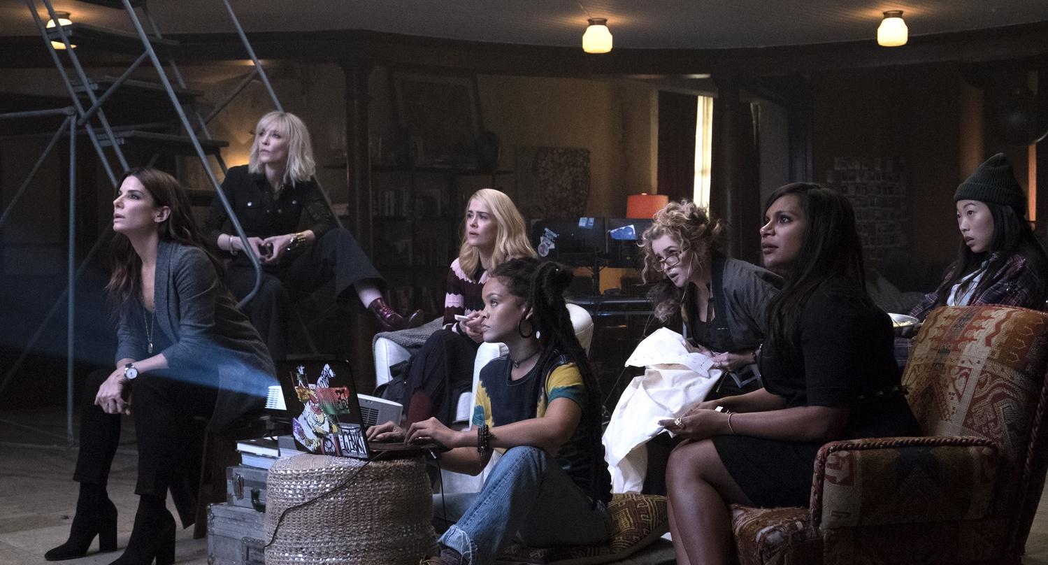 "Sandra Bullock, Cate Blanchett, Sarah Paulson, Rihanna, Helena Bonham Carter, Mindy Kaling, and Awkwafina star in ""Ocean's 8"" (2018), directed by Gary Ross."