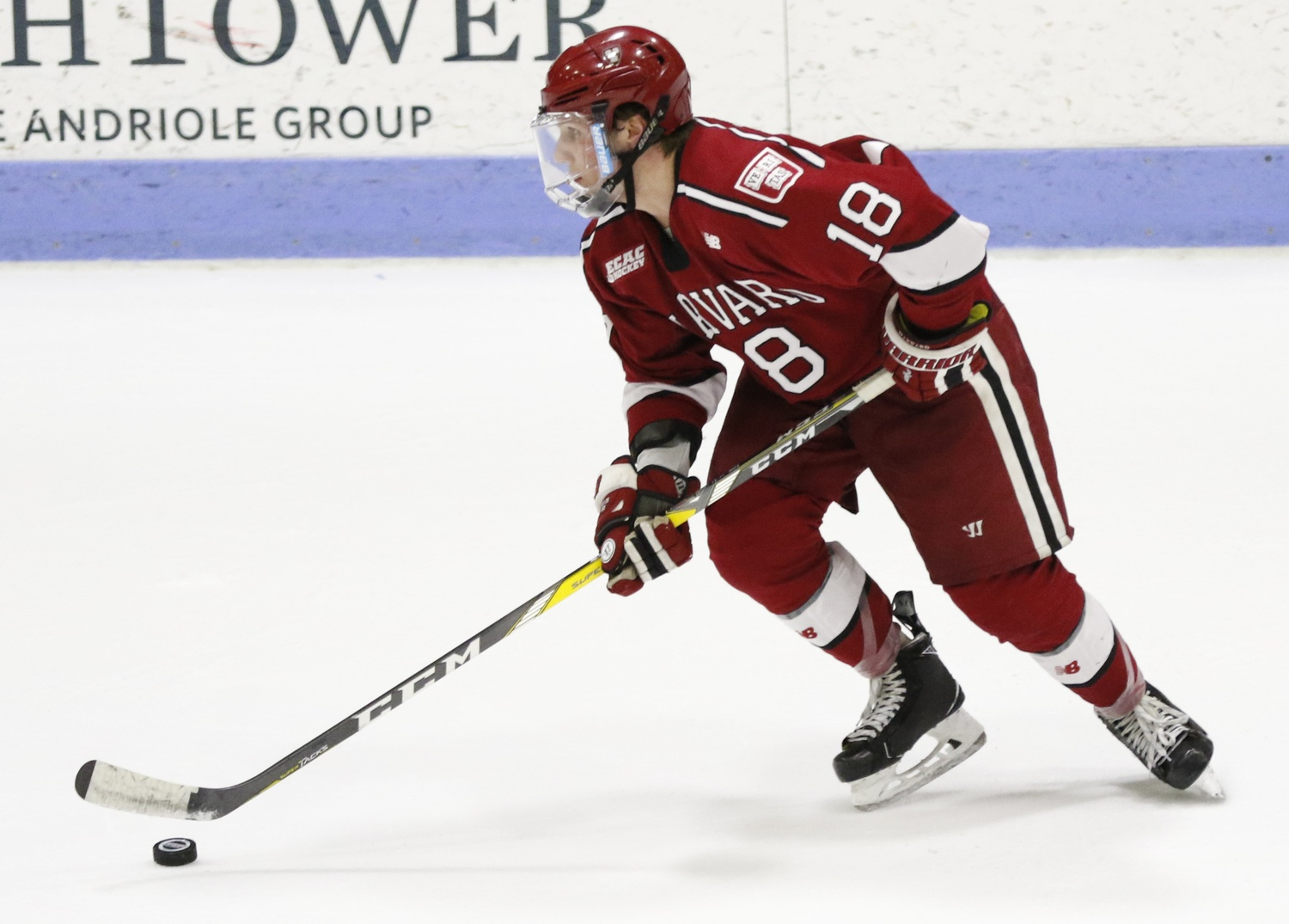 Junior Adam Fox, who will once again command the Harvard blue line in 2018-2019 with his offensive prowess, saw his rights traded in June from Calgary to Carolina.