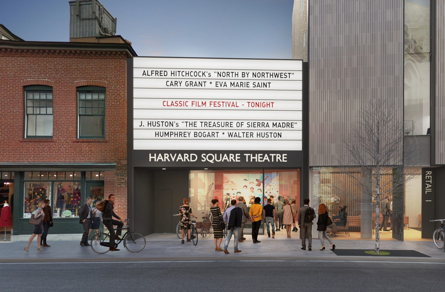 "Developers proposed a new Harvard Square Theater facade that would include a dedicated theater marquee that ""clearly identifies its presence in the street."""