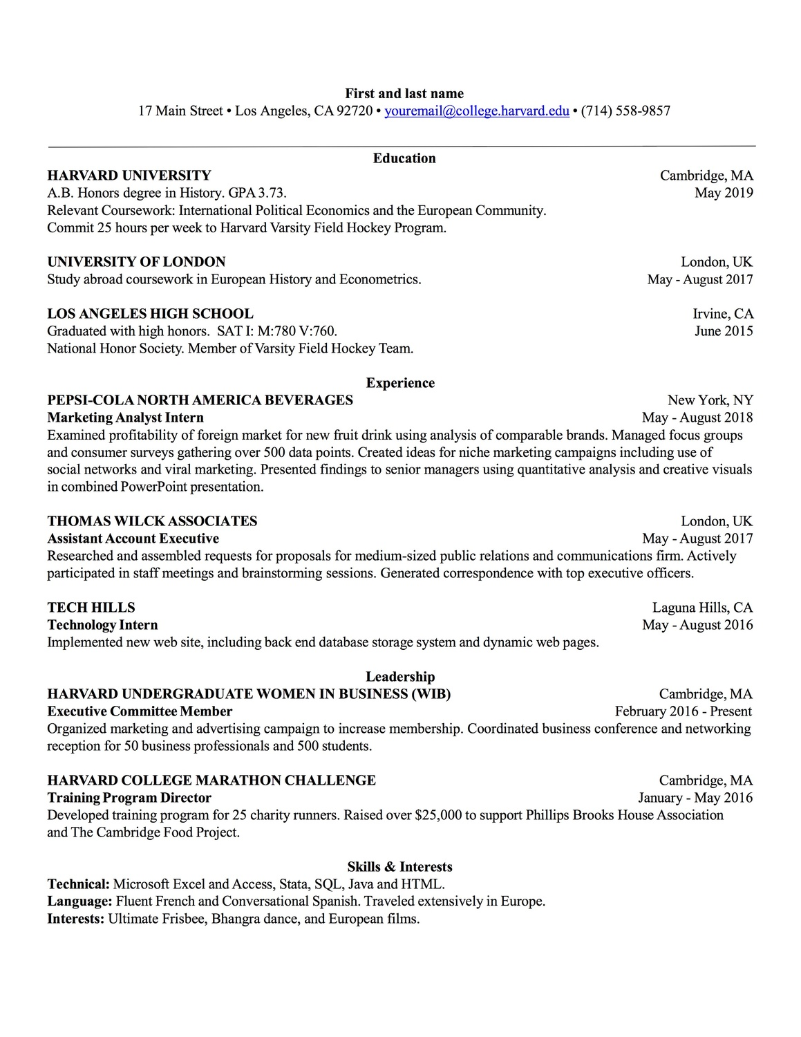 OCS Sample Resume