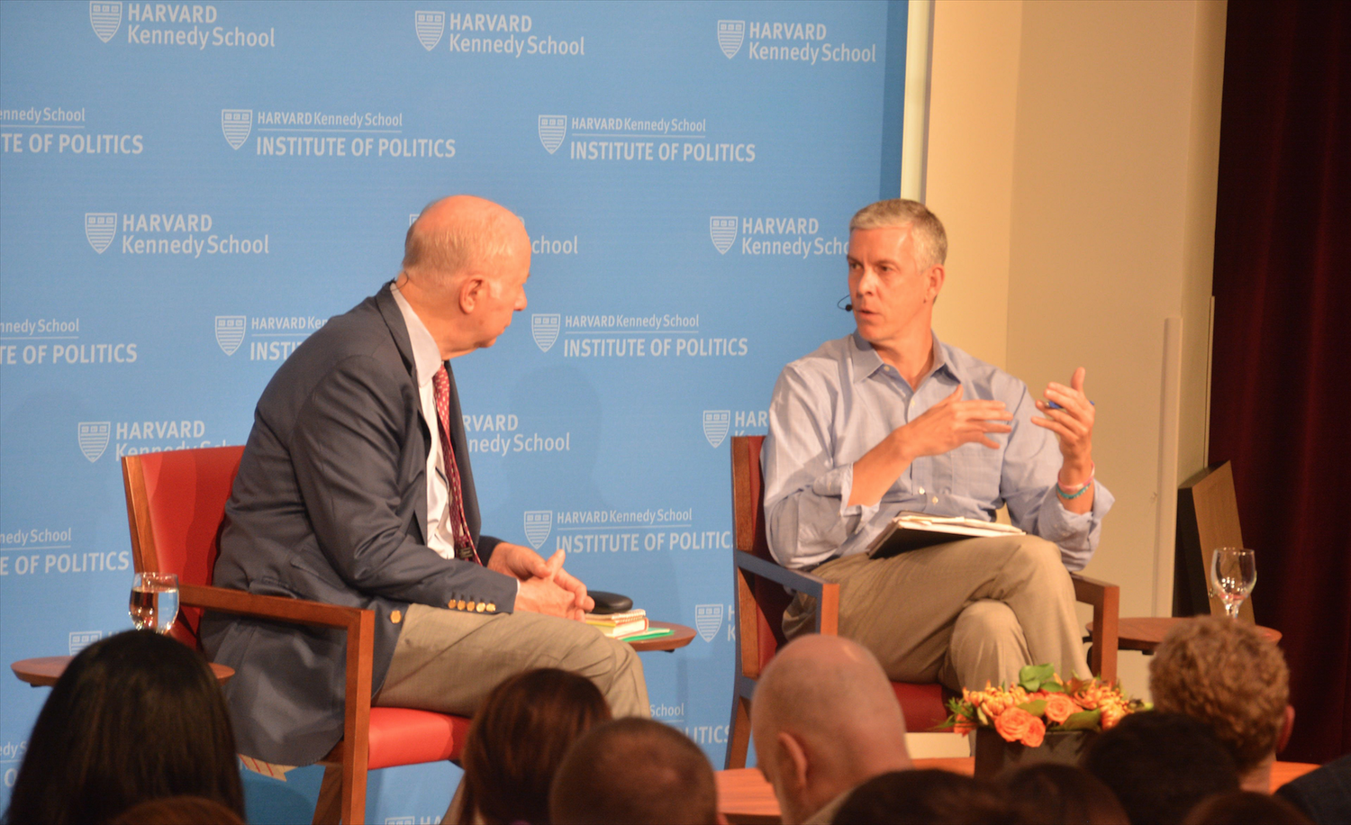 Former Secretary of Education Arne S. Duncan '87 shares his thoughts about American education Tuesday night at the Institute of Politics.