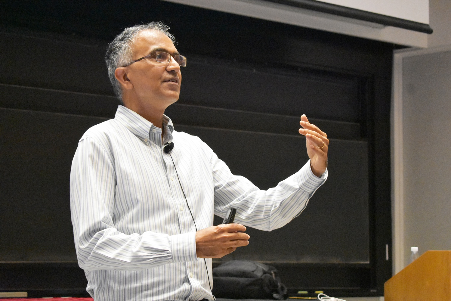 Sanjeev Arora, a Princeton University computer science professor, gives a lecture about the theoretical understanding of deep learning in Science Center Hall D.
