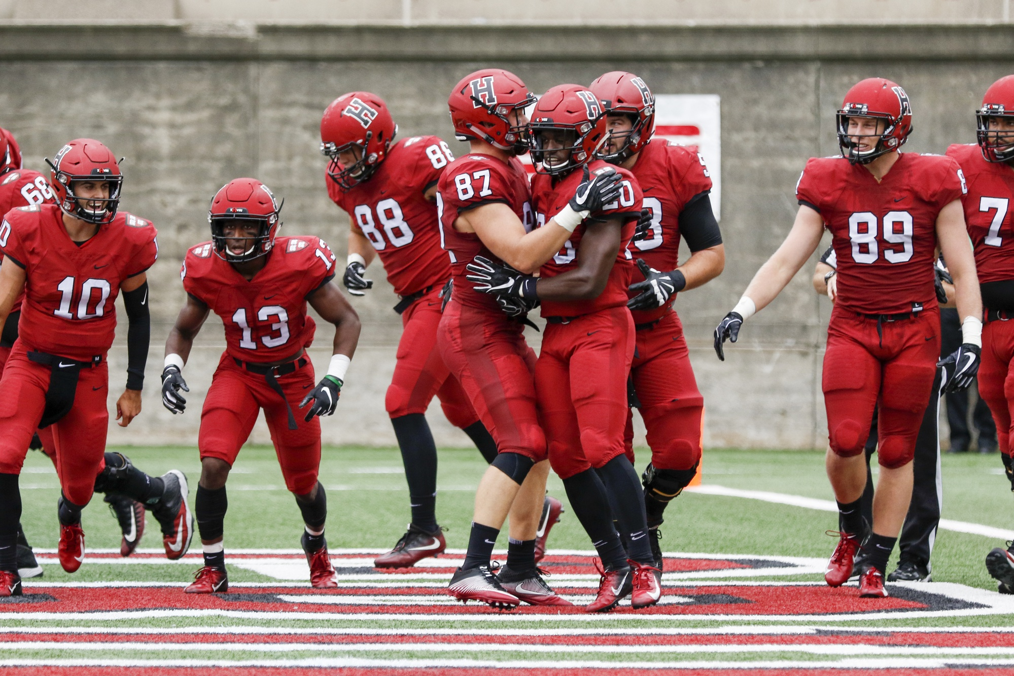 Harvard's offensive and defensive lines propelled the team to victory this weekend over San Diego. The Crimson's upper hand in the trenches explains the squad's drastic advantage in the ground game: 266 yards to just 93.
