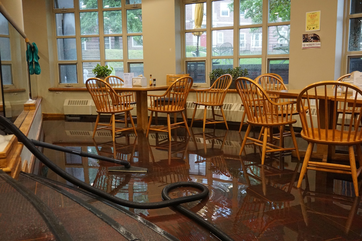 The Cabot dinining hall flooded Tuesday amidst heavy rain. Dining service was temporarily suspended.