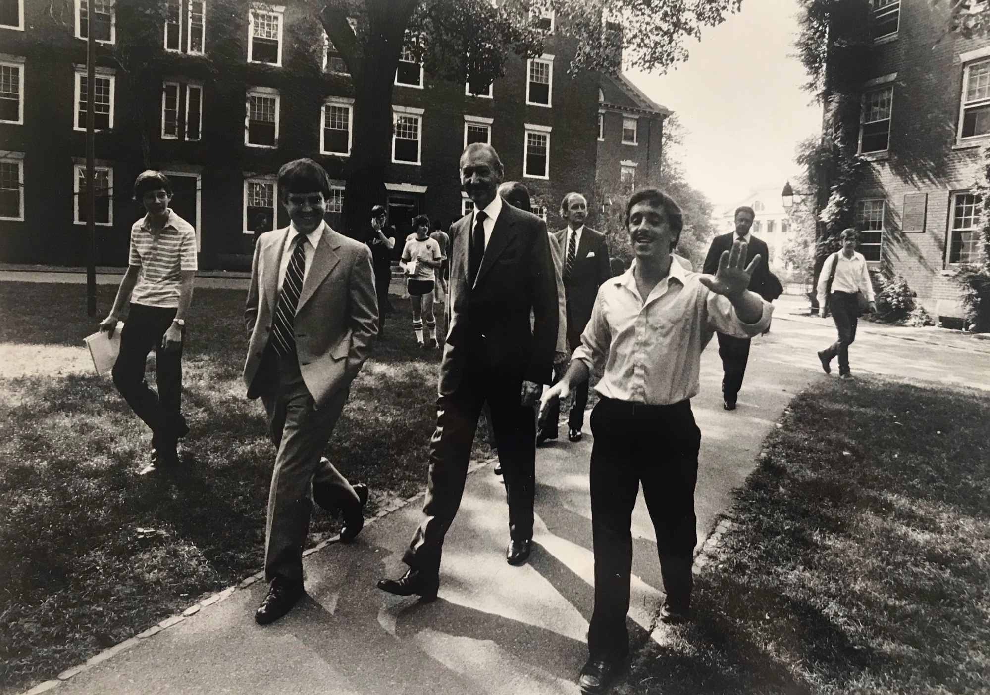 Benjamin H. Schatz '81 gives United Nations Secretary General Kurt Waldheim a tour of Harvard in 1981.