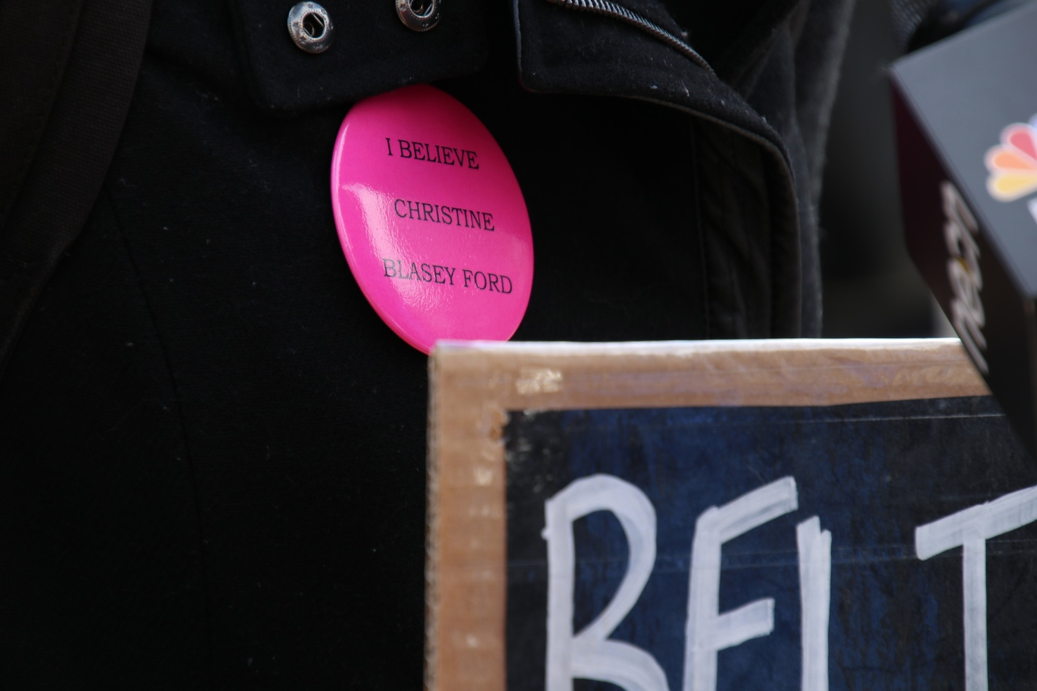 At a walkout Monday, HLS students wore buttons in support of Christine Blasey Ford, a professor alleging Supreme Court nominee Brett M. Kavanaugh sexually assaulted her when they were both teenagers.