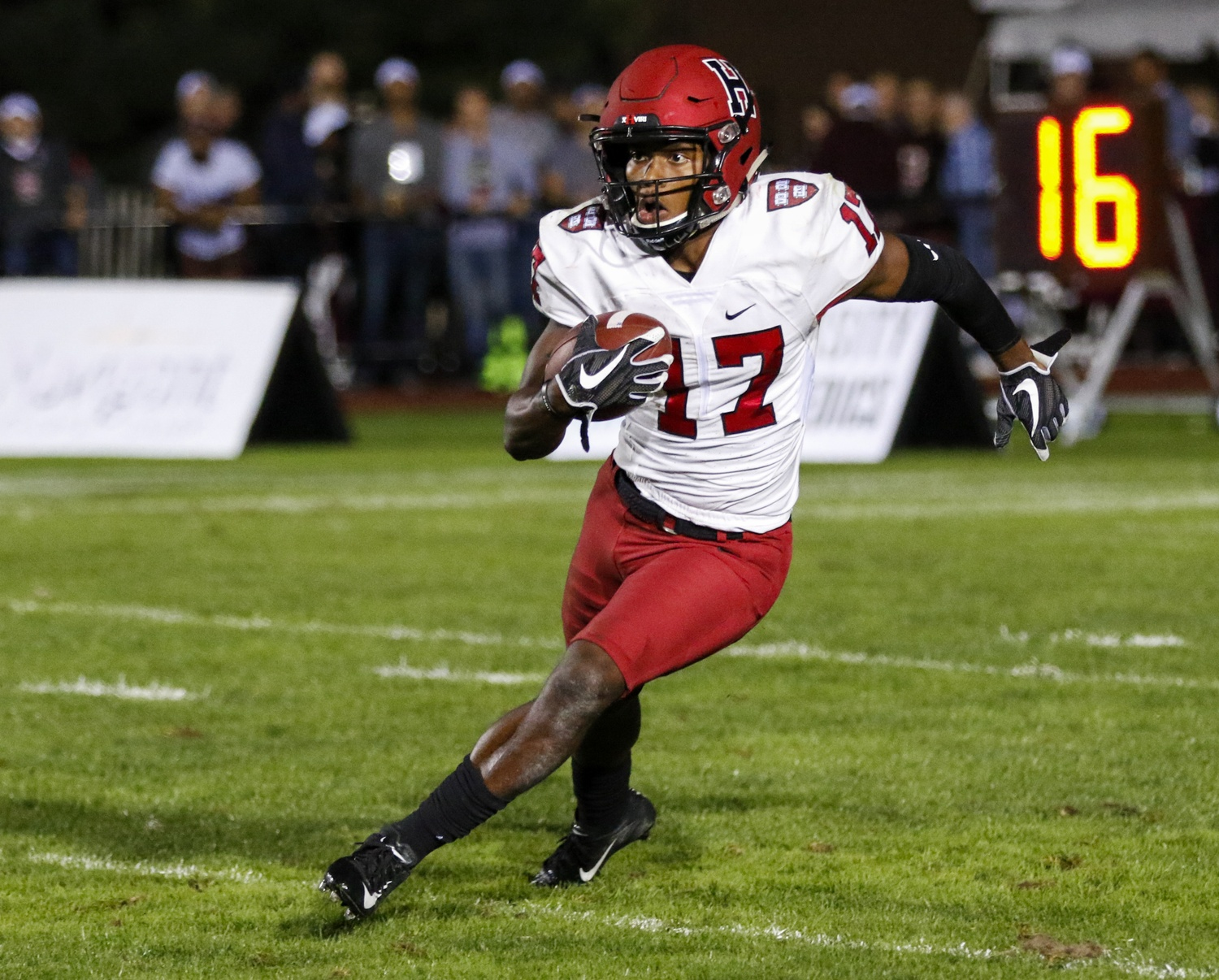 Junior Justice-Shelton Mosley has the fourth highest number of career receptions of any Harvard player ever, with 137.