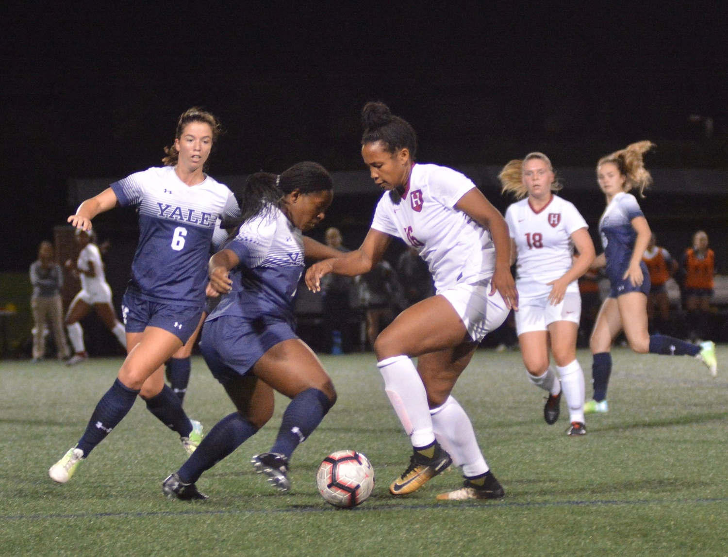 Freshmen defender Jillian Wachira makes a move against a Yale player in Saturday night's 1-0 victory.