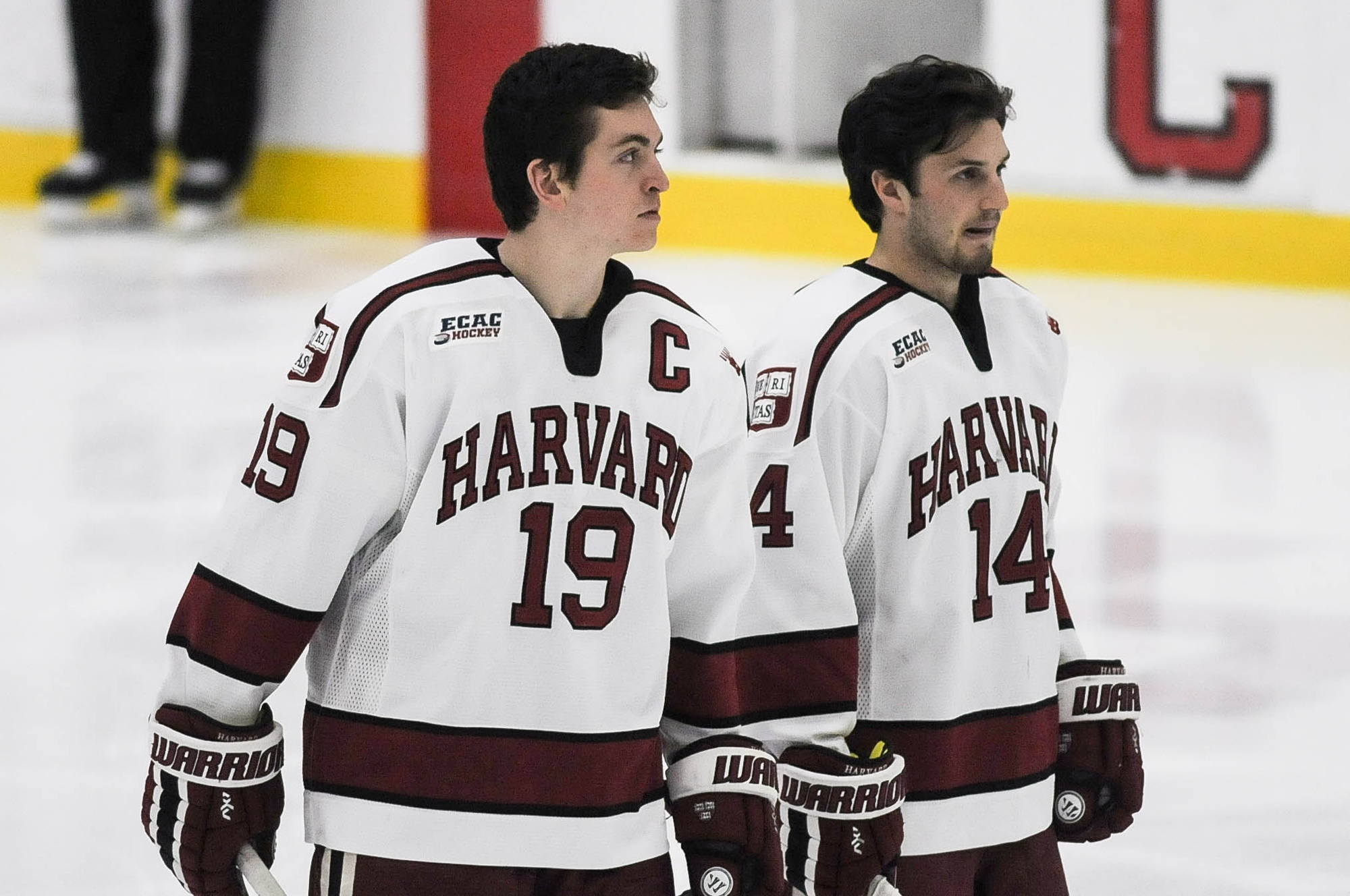 Jimmy Vesey '16 (left) won the Hobey Baker Award during his senior campaign at Harvard.