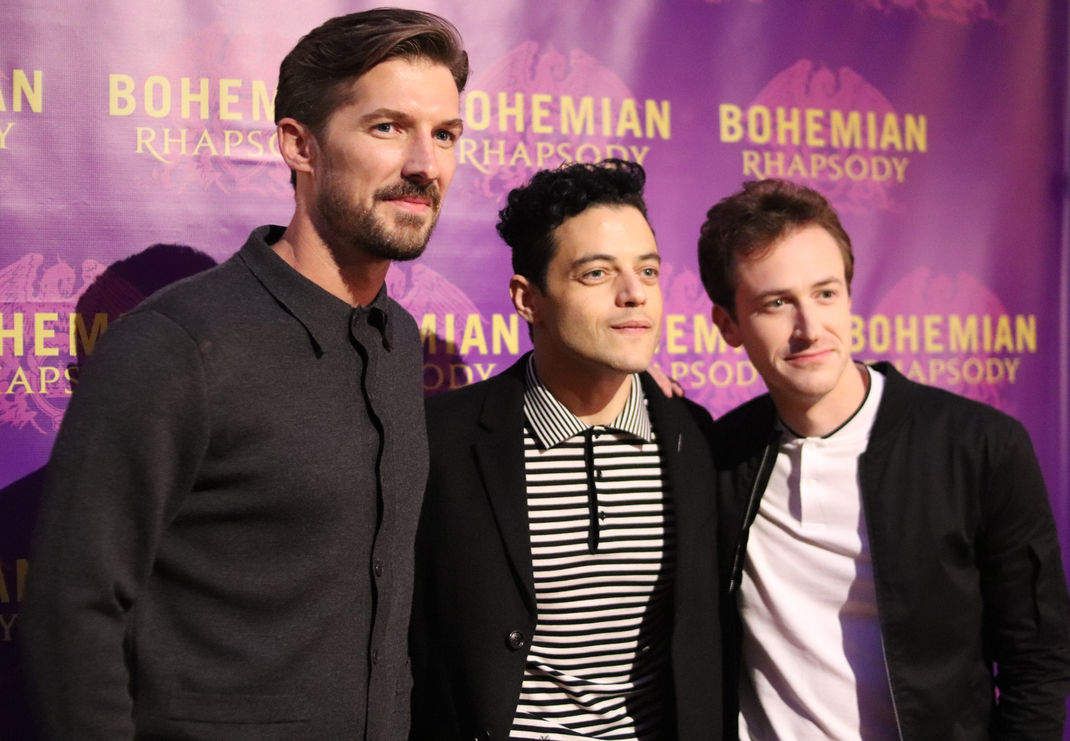 Stars of the new movie Bohemian Rhapsody Rami Malek, Gwilym Lee and Joseph Mazzello arrive at the Boston premiere of the movie on October 1st at AMC Boston Common which attracted many area college students.